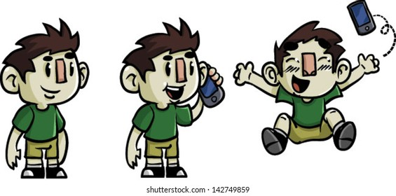 Boy with smart phone -  Vector clip art illustration on white background