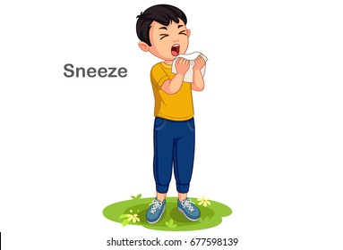 Boy sneezing cartoon illustration