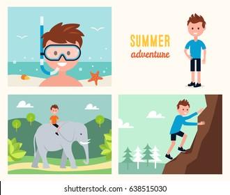 Boy Snorkeling , Climbing Rock and Riding Elephant. Summer Activities Vector Illustration