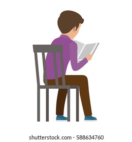 Boy spends time by reading book view from back. Vector illustration of young male person attentively finding out more information from textbook on white. Quiet process of learning and educating