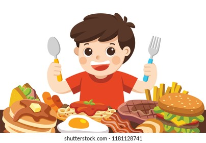 A Boy with spoon and fork going to eat Foods.