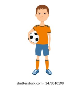 Boy in sports uniform holds ball in his hands. Young athlete isolated on white background. Vector illustration of  soccer player kid in cartoon simple flat style.
