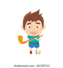 Boy Sportsman Playing Hockey On Grass Part Of Child Sports Training Series Of Vector Illustrations