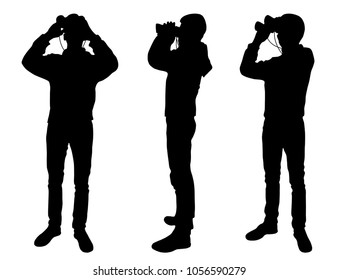 The boy is standing with a binocular. Set of silhouettes