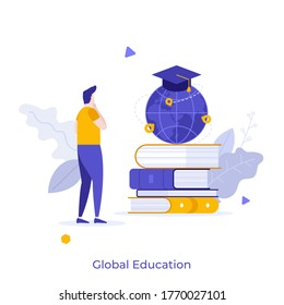 Boy standing in front of pile of books and globe with graduation cap. Concept of global education, study abroad, international student exchange program. Modern flat vector illustration for banner.