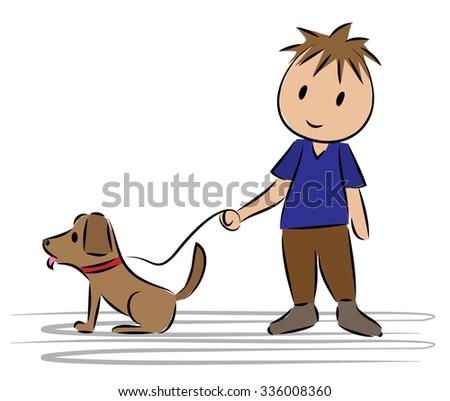 boy standing his dog cartoon drawing stock vector royalty free