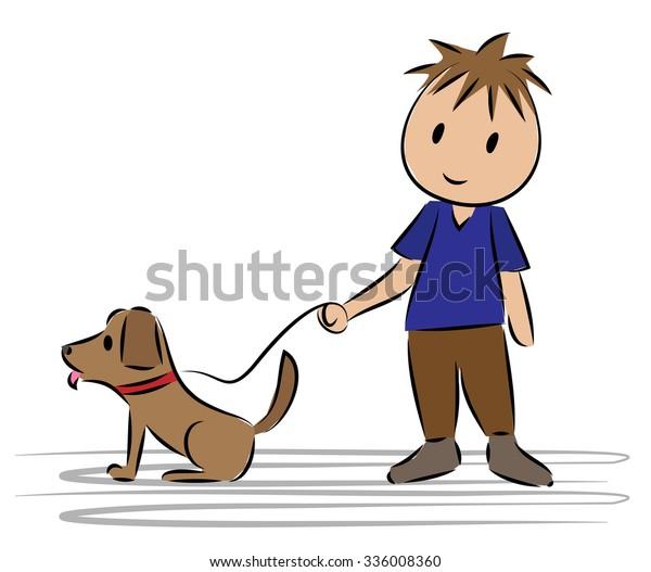Boy Standing His Dog Cartoon Drawing Stock Vector Royalty Free 336008360