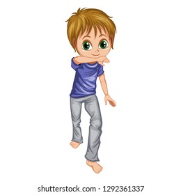 Boy Standing and Practicing Capoeira movement. Kid Character Doing Jinga Element of Martial Art, Capoeira Dancer Pose Vector Illustration on a White Background