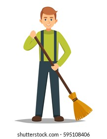 boy stands with a broom right hand vector illustration of isolated layers on a white background.cleaner roads, streets, and parks in working clothes with a broom in hand