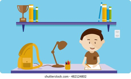 Boy studying at a desk with bookcase and books
