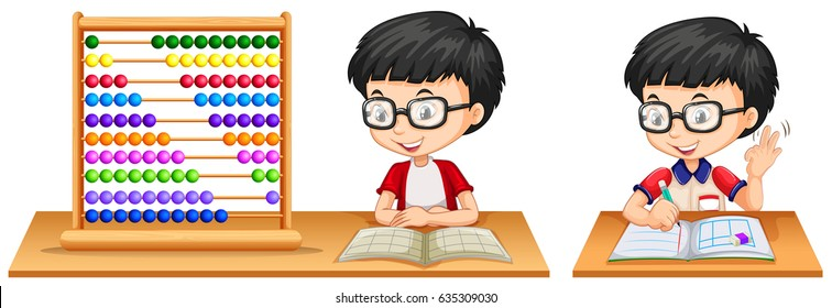 Boy studying math using abacus illustration