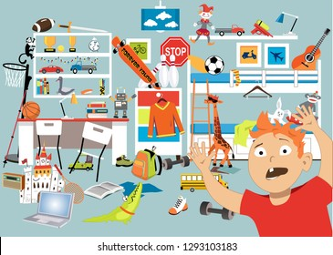 Boy in a stuffed room with too many toys, EPS 8 vector illustration