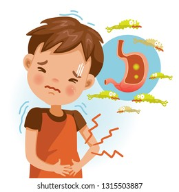 Boy suffering from stomach painful or Acid Reflux or Heartburn, Gas, Bloating, Belching and flatulence. Caused by gastrointestinal viral infections. gastrointestinal system disease.