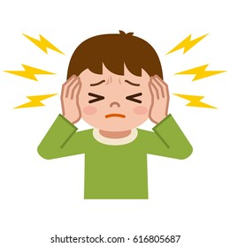 Boy suffering from tinnitus