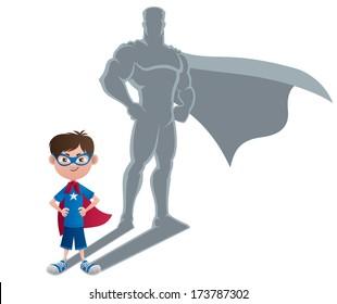 Boy Superhero Concept: Conceptual illustration of little boy with superhero shadow.