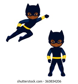 Boy superhero in flight and in standing position.Vector illustration isolated on white background.