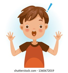 Boy surprised. Exclamation mark. Wide open eyes, big eyes. Cartoon character vector illustration isolated on white background.