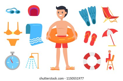 Boy surrounded with swimming equipment icon. Umbrella and towel, shower and stopwatch, sunbed and saver seat, swimwear and flippers, hat and glasses