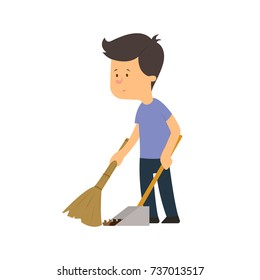 the boy sweeps the floor with a broom. vector illustration isolated on white background.