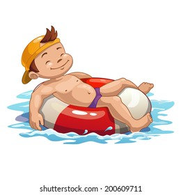 Boy is swimming on the pool ring