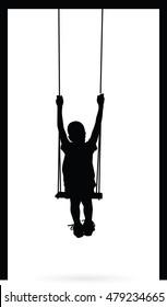 Boy swinging on swing  silhouette vector illustration