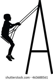 Boy swinging on a swing vector silhouette illustration