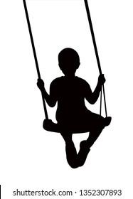boy swinging silhouette vector