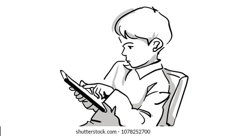 Boy with a tablet computer. Kid sitting on a chair and touching the screen of a tablet with his finger. Black and white vector sketch. Simple drawing isolated on white.