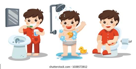 A boy taking a bath, brushing teeth, sitting on toilet. Health and hygiene.