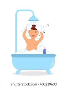 Boy taking a bath with soap bubbles. Concept design of a singing male taking a bath. Isolated vector illustration in a flat style.