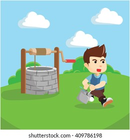 Boy taking water from draw well illustration