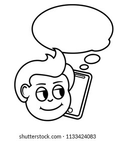 Boy is talking on the smartphone. Conversation in the distance. Call your mom. black and white Vector illustration.