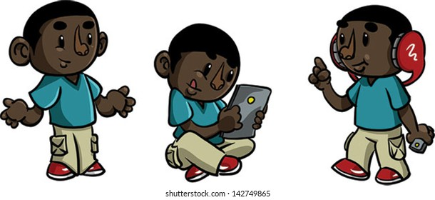 Boy with technology -  Vector clip art illustration on white background