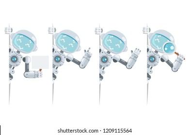 Boy teen cute robot android look out corner artificial intelligence futuristic information interface flat design vector illustration