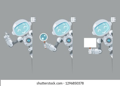 Boy teen robot android look out corner poster hand pointing on banner hold magnifying glass artificial intelligence futuristic flat design vector illustration