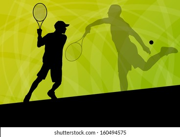 Boy tennis players active sport silhouettes vector background illustration
