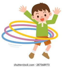 Boy that the hula hoop