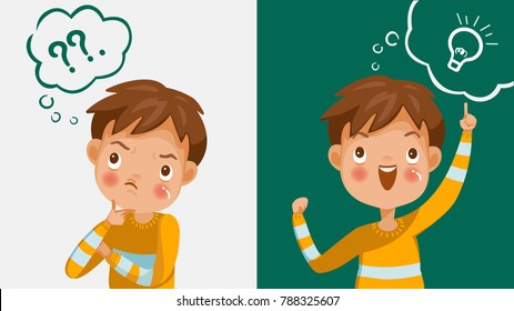 Boy thinking. Emotions and gestures. Think not, do not understand, Think out. The concept of learning and growing children. Cartoon illustrations vector
