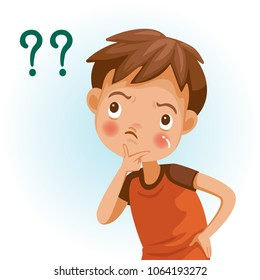 Boy thinking with question marks. cute boy in red shirt emotions and gestures do not understand. Vector Illustration Isolated on White background.