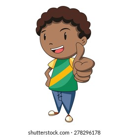 Boy thumbs up, vector illustration