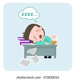 Boy tired, boy is sleeping. sleep at the table, sleeping on the job. Flat design. Vector Illustration.