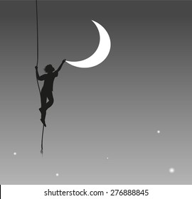 boy touching the moon, hang on the rope, on the heavens, dream, shadows