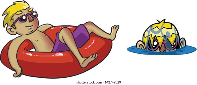 Boy in a tube -  Vector clip art illustration on white background
