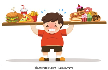 The Boy unhealthy body from eating junk food. Unhealthy lifestyle concept.