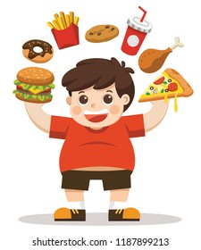 The Boy unhealthy body from eating junk food. He is happy to eat junk food. Unhealthy lifestyle concept.