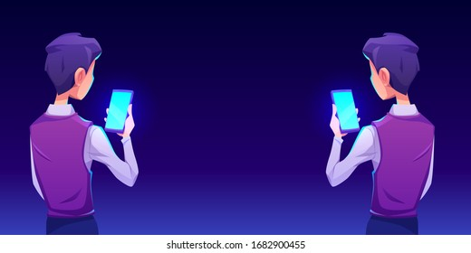 Boy using smartphone app. Man or guy hold in hand mobile phone with shiny blue screen back view. Vector cartoon illustration with gadget user. Ads of mobile device application