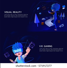 a boy using V.R. headset for play a computer game and education in 3d virtual reality world.