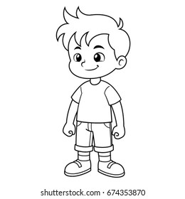 Boy vector cartoon. Black and White Outline.