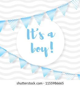 Its a boy. Vector greeting card for baby shower