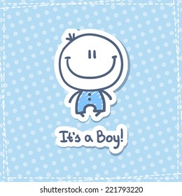 it's a boy, vector hand drawn baby boy with text